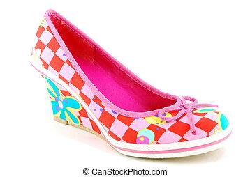 woman colorful shoe