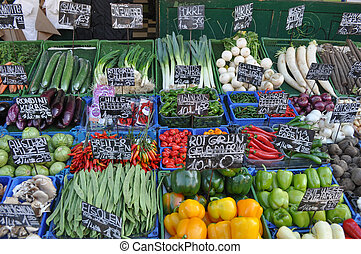 Greengrocer produce market - Fruits and vegetables at small...