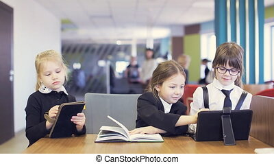school children communicate and do lesson school - school...