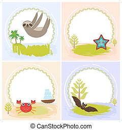 sloth, crab, cancer, starfish, bat, set of cards design with...