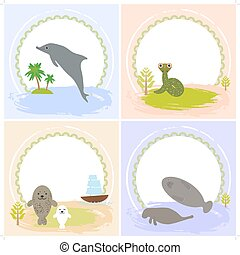 dolphin, snake, manatees, seals, set of cards design  with funny animals, template banner for your text with round frame. Vector
