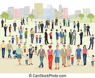 Menschenmenge auf einem Platz.eps - Crowd on a large square