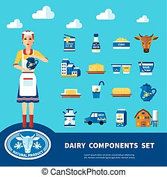 Dairy Components Set - Dairy components set with icons of...