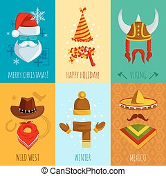 Hats And Accessories Mini Posters - Merry christmas happy...