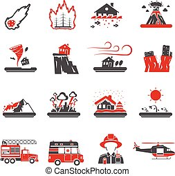 Natural Disaster Red Black Icons Collection - Natural...