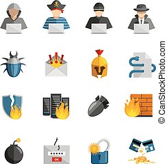 Hacker Flat Color Icons Set - Hacker flat color icons set of...