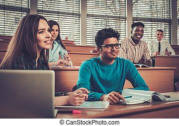 multinational, salle, groupe, séance, étudiants, Prendre,...