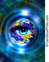 Planet Earth in light circle and woman eye, Cosmic Space...