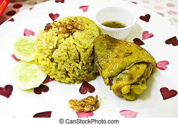 Thai chicken biryani (Khao Mok Gai) or Yellow curry rice...