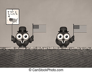 Sepia United States of America - Sepia comical bird...