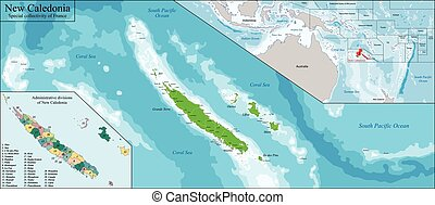 New Caledonia map - New Caledonia is a special collectivity...