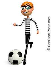 Illustration of Thief with football - 3D Rendered...