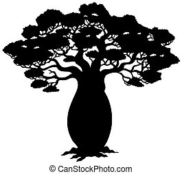 African tree silhouette - vector illustration.