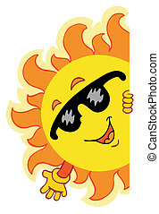 Waving cartoon Sun - vector illustration.