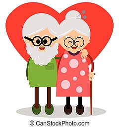 Cute grandmother and grandfather. - Illustration of a cute...
