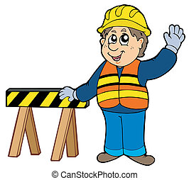 Cartoon construction worker - vector illustration.