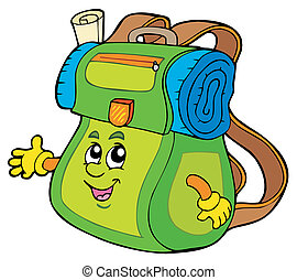 Cartoon backpack on white background - vector illustration