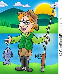 Cartoon fisherman with fish - color illustration