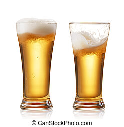 beers - two glasses of beer isolated on white
