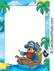 Frame with pirate paddling in boat