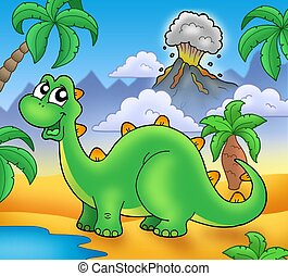 Cute green dinosaur with volcano - color illustration.