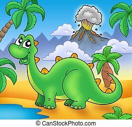 lindo, verde, Dinosaurio, volcán