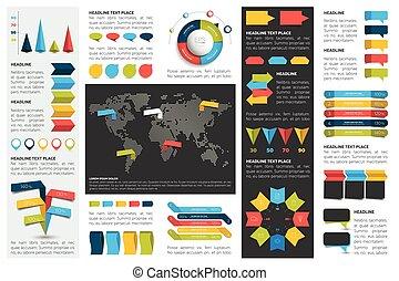 Mega set of infographics elements charts, graphs, circle charts, diagrams, speech bubbles. Flat and 3D design.