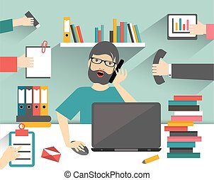 Hard working business man. Workplace flat  illustration.