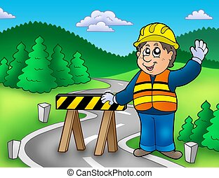Construction worker standing on road - color illustration.