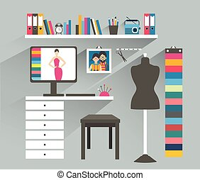 Office workplace. Fashion designer office. Flat design...