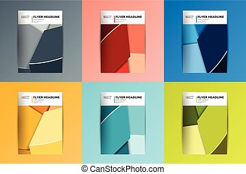 Brochure, flyer, annual report cover design. Various color...