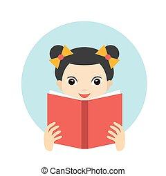 lindo, poco, lectura, niña, libro