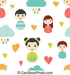 Kids wall paper pattern Color children smiling faces with...