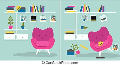 Tidy und untidy room Living room with armchair and book...