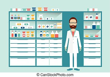 Man pharmacist in a pharmacy, drugstore. Shelves with medicines, cure, pills.