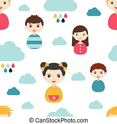 Kids wall paper pattern Color children smiling faces and...