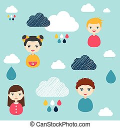 Kids wall paper pattern. Color children faces and clouds.