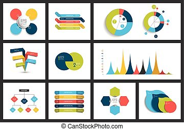 Set of infographics elements charts, graphs, circle charts, diagrams, speech bubbles. Flat and 3D design.