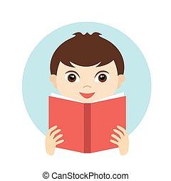 Little cute boy reading a book.