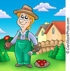 Gardener planting red flowers - color illustration.
