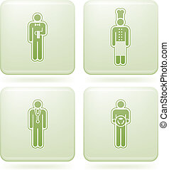 Olivine Square 2D Icons Set: Occupation - Man\'s Occupation...