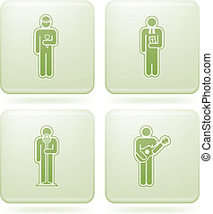 Olivine Square 2D Icons Set: Occupation