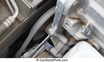 alternator belt closeup, rotation HD