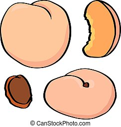 Cute peaches, illustration