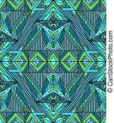 Abstract ethnic pattern in green tones. Vector background for yo