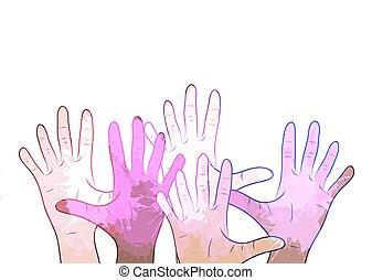 aquarela, variedade, elemento, esguichos, vetorial,  human, mãos