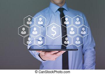 money on tablet businessman , Business idea concept money...
