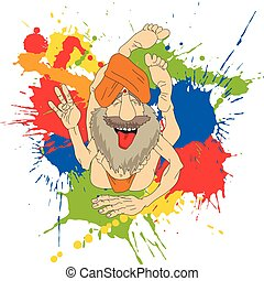 Funny Indian Yogi - Cartoon Vector Illustration of Funny...