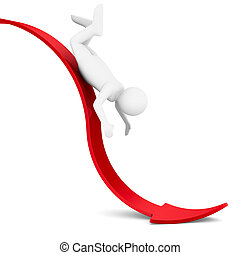 man on red arrow Isolated 3D image