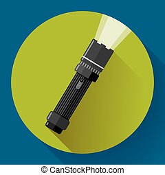Flashlight Vector icon Flat design style - Flashlight - dark...